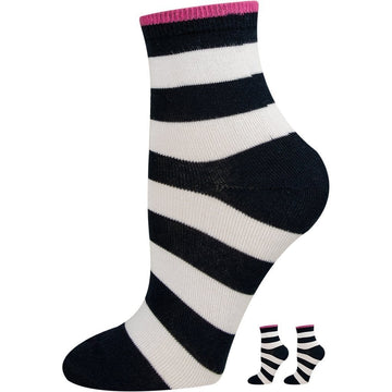 Girls Socks, Mercerized Cotton, White and Black Stripes, Seamless, Easy To Wash, Moisture Wicking and Breathable