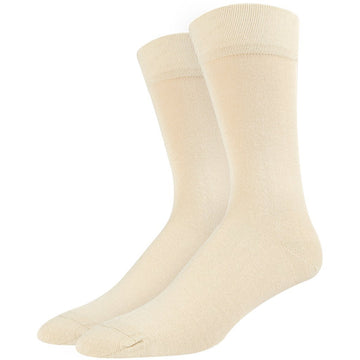 Men's Bamboo Socks, Great for Business Attire, Moisture Wicking, Easy To Wash, Comfortable, Seamless Off White Color