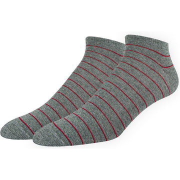 Men's Low Cut, No Show, Invisible Socks, Mercerized Cotton, Grey with Red Stripes, Super Comfortable, Breathable, Hand Linked Toes and Seamless