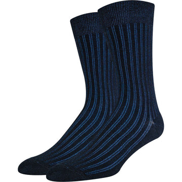 Men's Top Quality Mercerized Cotton Socks, Black With Glowing Blue Stripes Color, Moisture Wicking, Light Weight, Anti Bacterial, Easy to Wash and Seamless