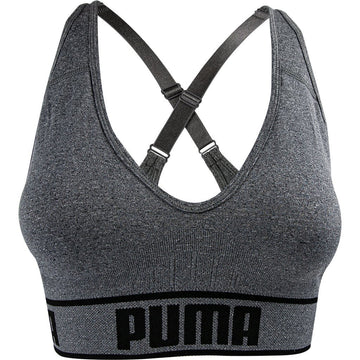 Puma Women's Seamless Sports Bra, Grey, Removable Cups, Adjustable Straps, 360 Seamless Comfort, Moisture Wicking and Medium Impact
