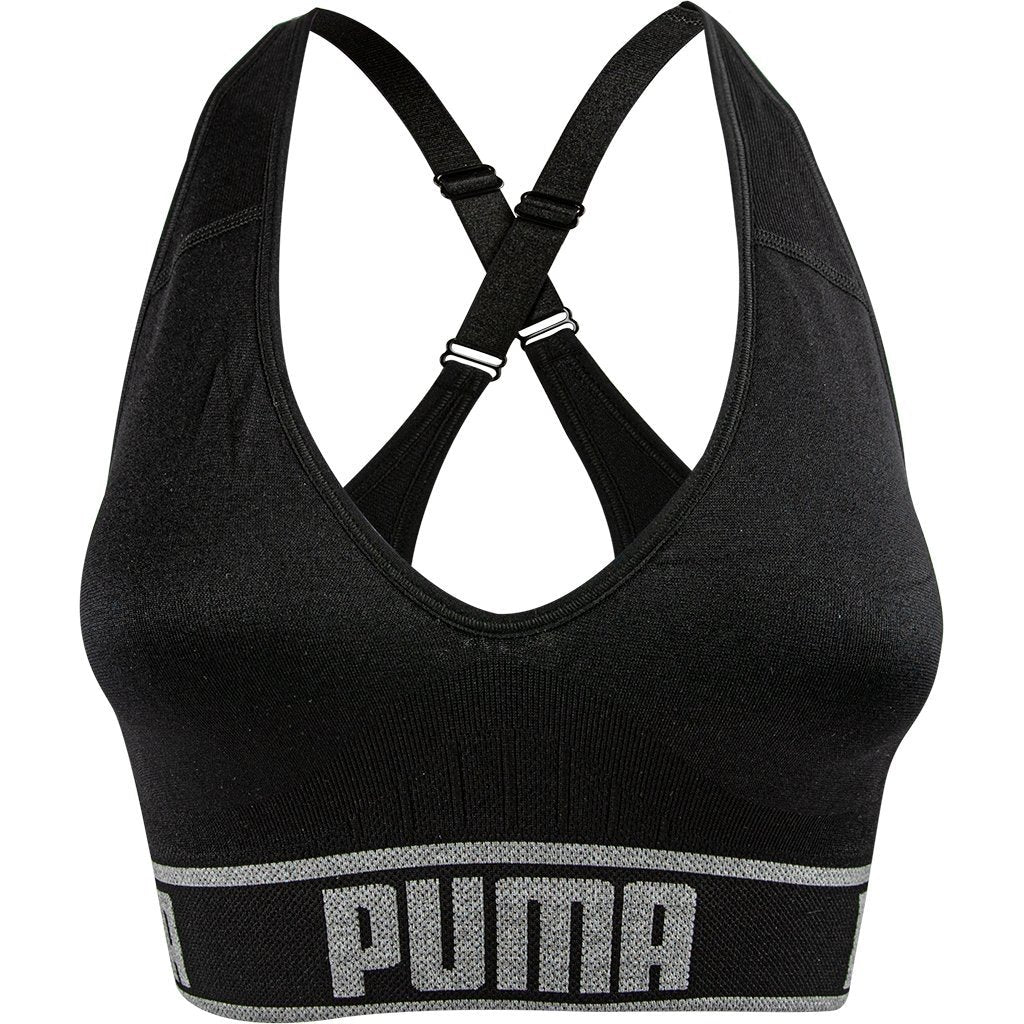 d28a7038 Puma Women's Seamless Sports Bra, Black, Removable Cups, Adjustable Straps,  360 Seamless Comfort, Moisture Wicking and Medium Impact