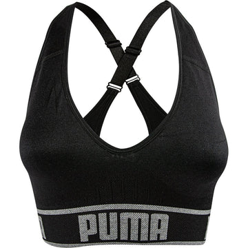 Puma Women's Seamless Sports Bra, Black, Removable Cups, Adjustable Straps, 360 Seamless Comfort, Moisture Wicking and Medium Impact