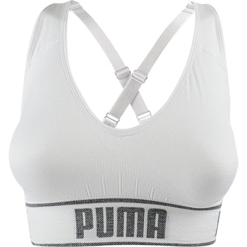 Puma Women's Seamless Sports Bra, White, Removable Cups, Adjustable Straps, 360 Seamless Comfort, Moisture Wicking and Medium Impact