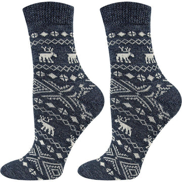 The Best Wool Socks With Christmas Ornaments Prints For Women - Great For Cold Winter Weather