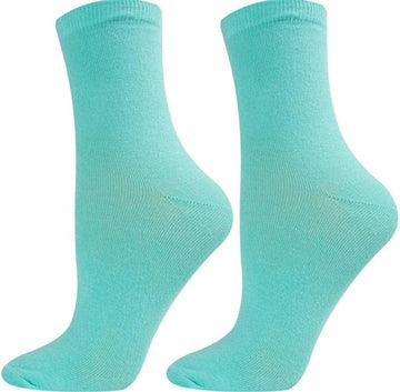 Women's Crew Length Socks, Turquoise Color, Seamless, Easy To Wash, Long Lasting, Light Weight and Moisture Wicking