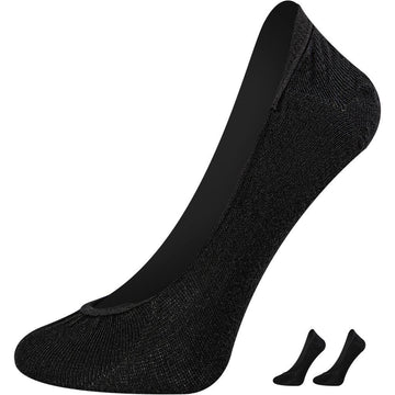 Women's Black No Show Socks, Mercerized Cotton, Seamless, Easy To Wash, Breathable and Light Weight