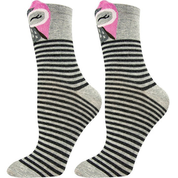 Women's Crew Socks, Comfortable, Stripes with Owl Print on The Front, Seamless, Easy To Wash, Mercerized Cotton