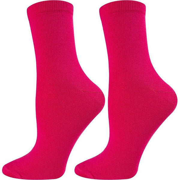 SOXESSORY 2018 $11.99 Womens Crew Socks Magenta Color Mercerized