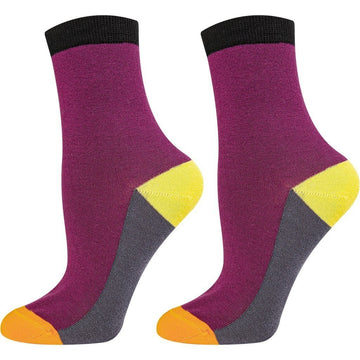 Women's Crew Socks, Soft and Breathable, Seamless Mercerized Cotton, Durable, Burgundy, Black Orange and Yellow Colors
