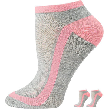 Women's Low Cut, White with Pink Stripes Mercerized Cotton Socks, Moisture Wicking, Light Weight, Good for Sports, Quarter, Ankle Size