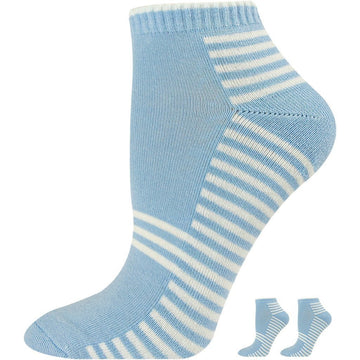 Women's Quarter / Ankle Socks - Breathable, Hand Linked - Seamless, White with Blue Stripes
