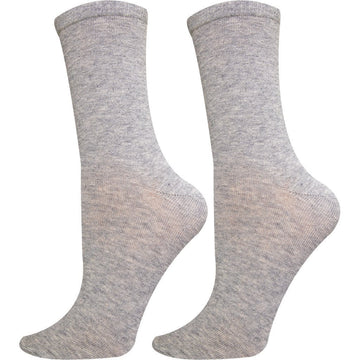 Women's Socks, Mercerized Cotton, Crew Length, Grey Color, Moisture Wicking, Seamless, Easy To Wash and Anti Bacterial