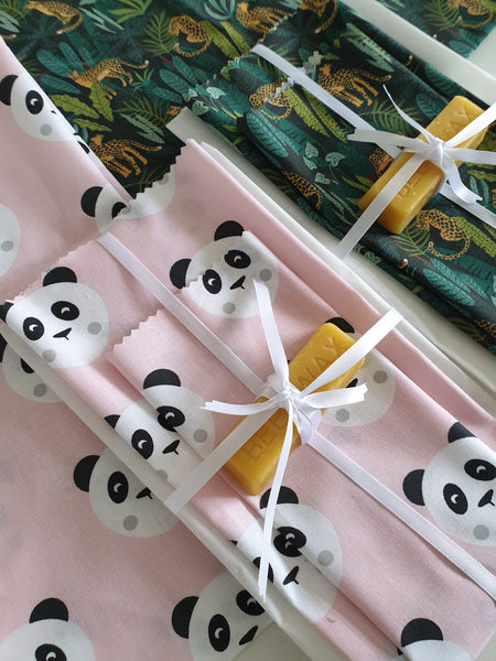 panda design beeswax wrap