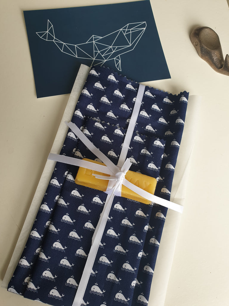 whale design beeswax wrap starter kit