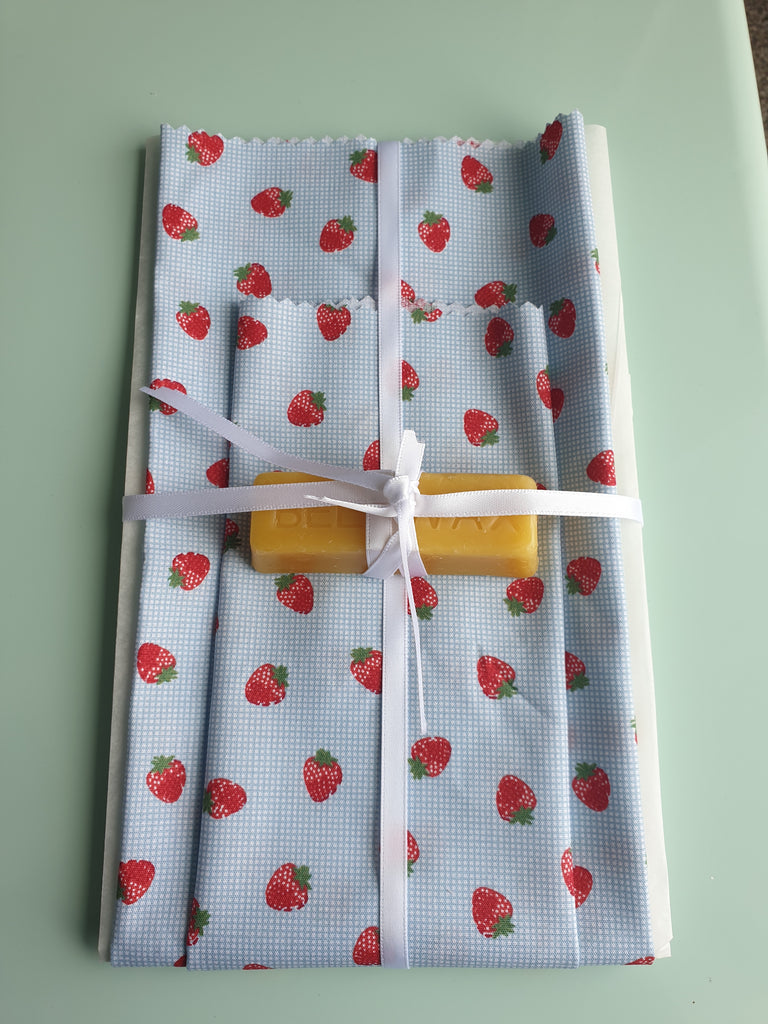strawberry design beeswax wrap kit