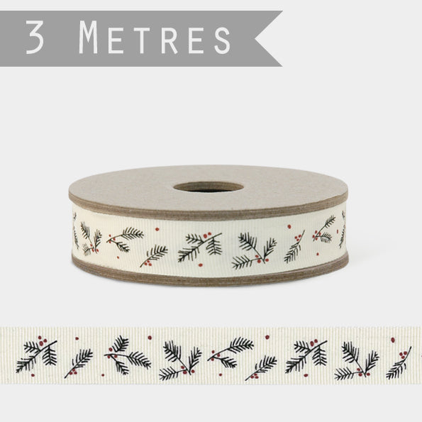 3m Ribbon - Cream with Berries