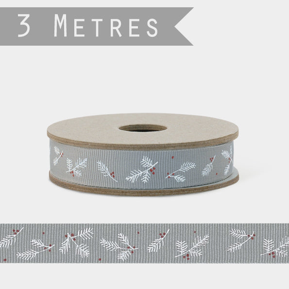 3m Ribbon - Grey with Berries