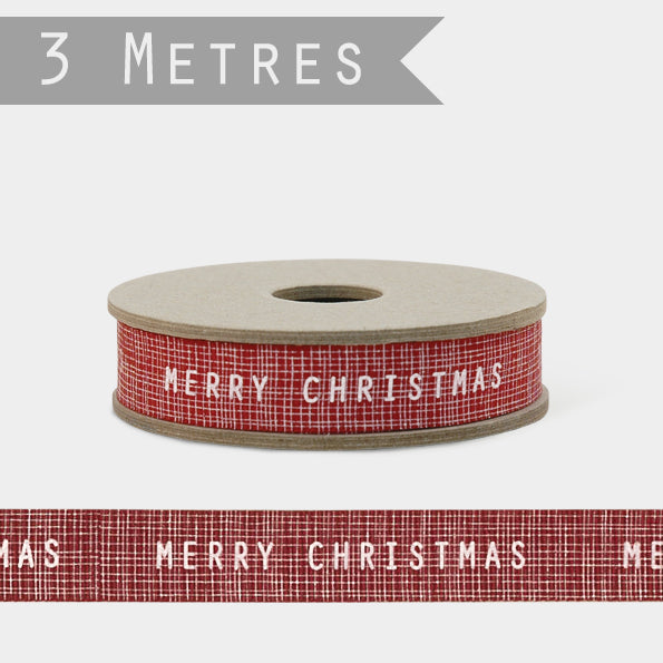 3m Ribbon - Red with Merry Christmas Design