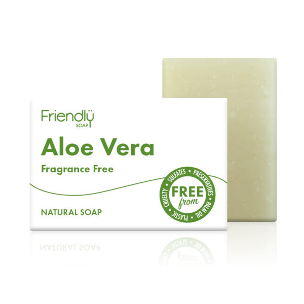 Aloa vera soap standing next to its green and white packaging