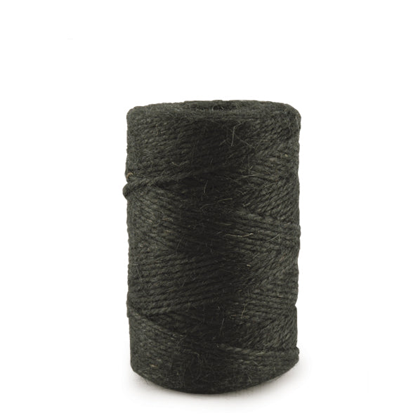 Black jute string wound in a roll