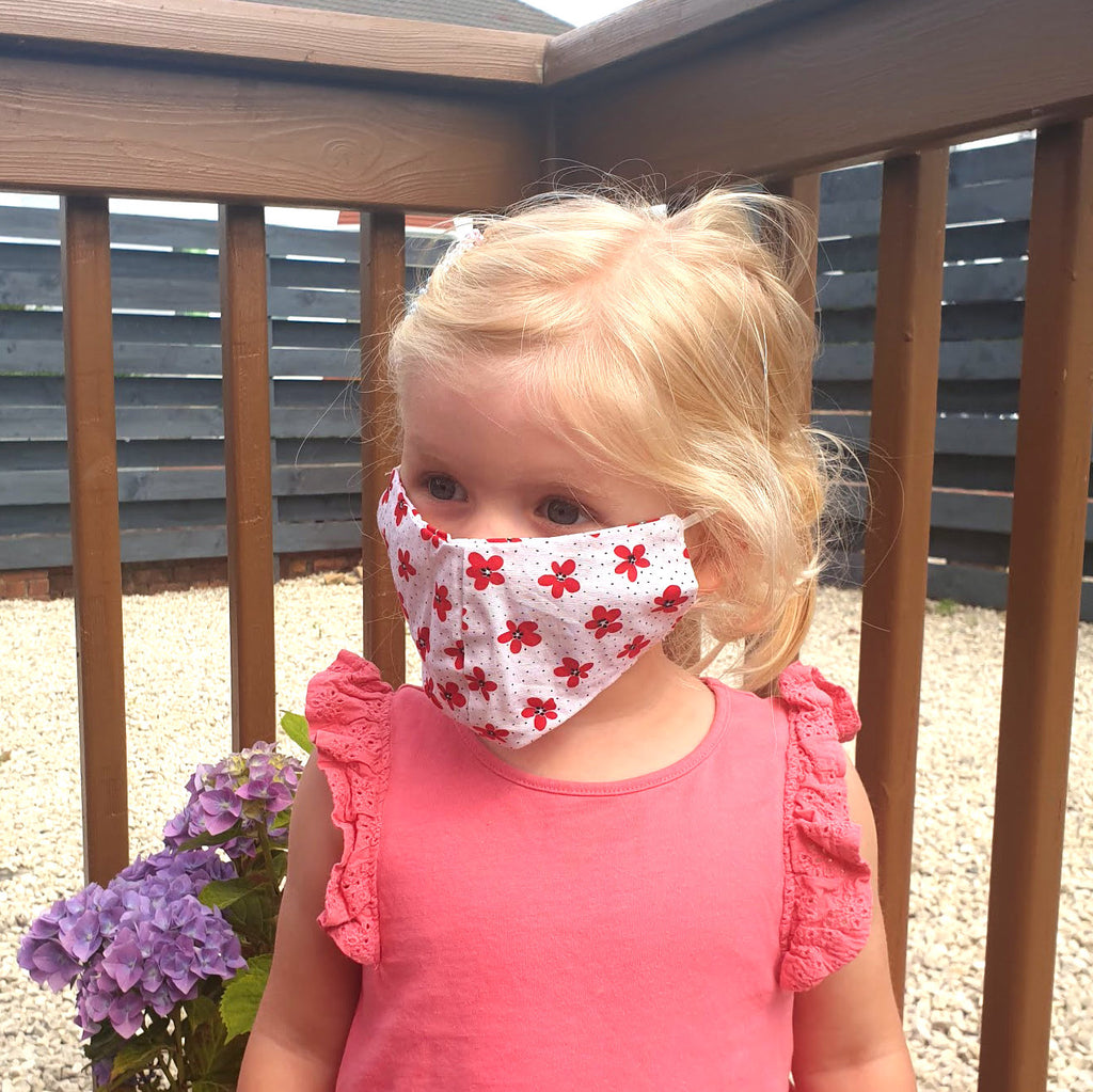 red flower kids face mask