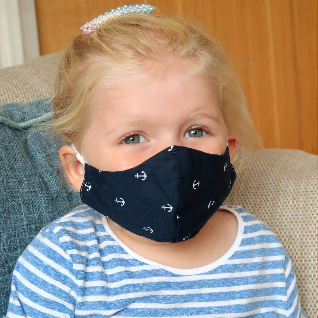 navy anchor kids face mask