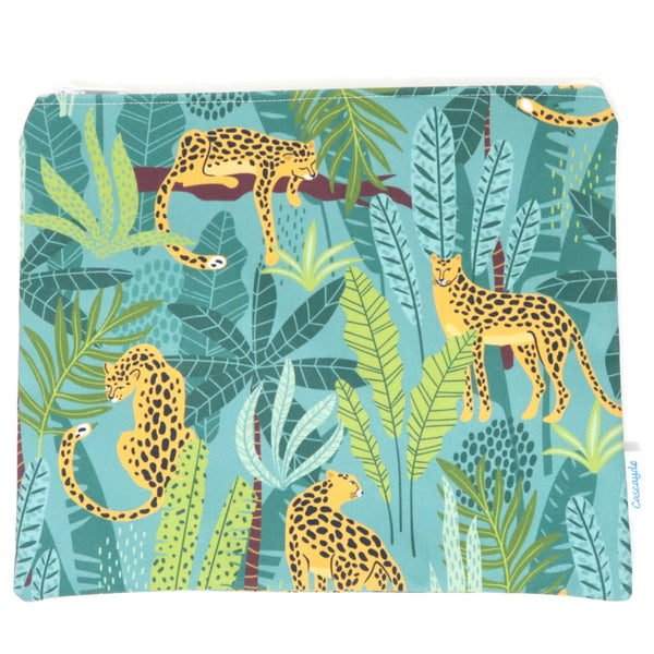 Large Leopard Zip Bag- Ipad Sleeve/Toiletry/ Baby Bag