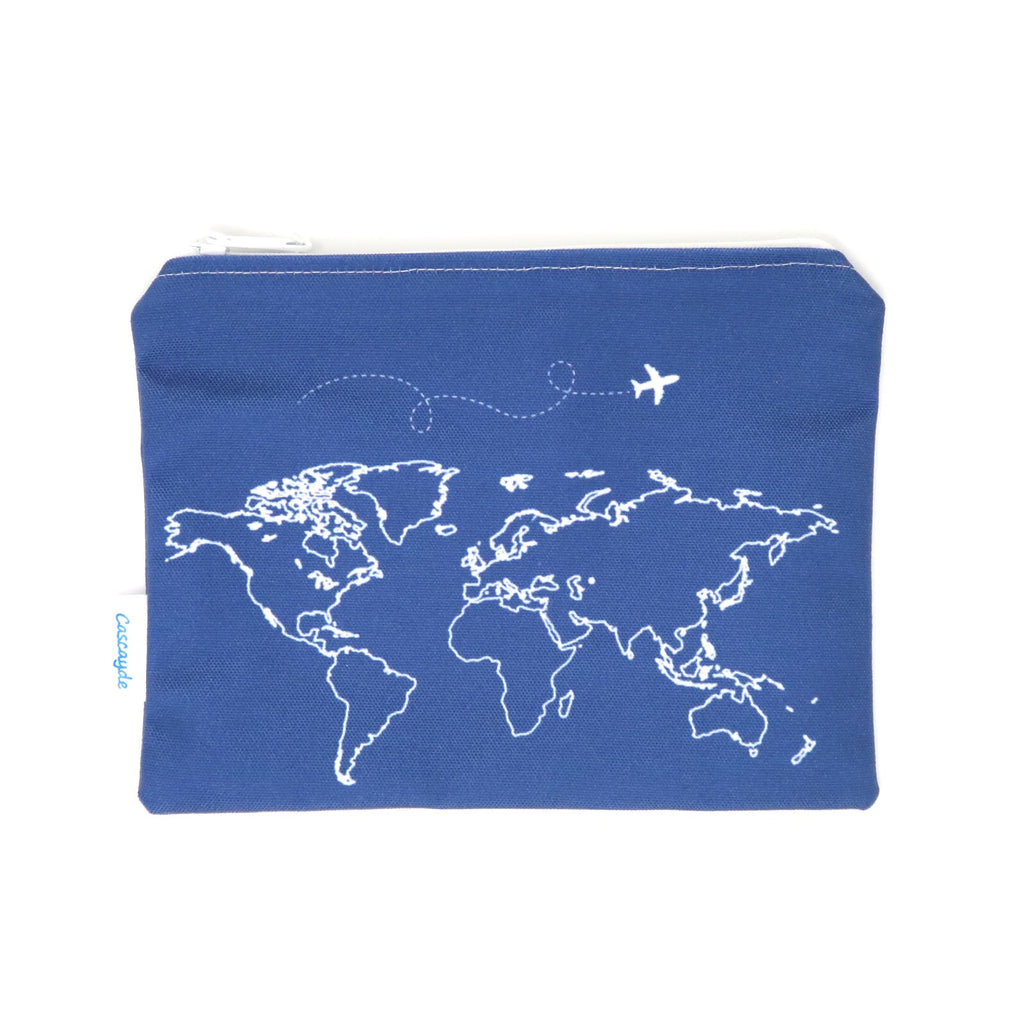 Navy Map Zip Bag