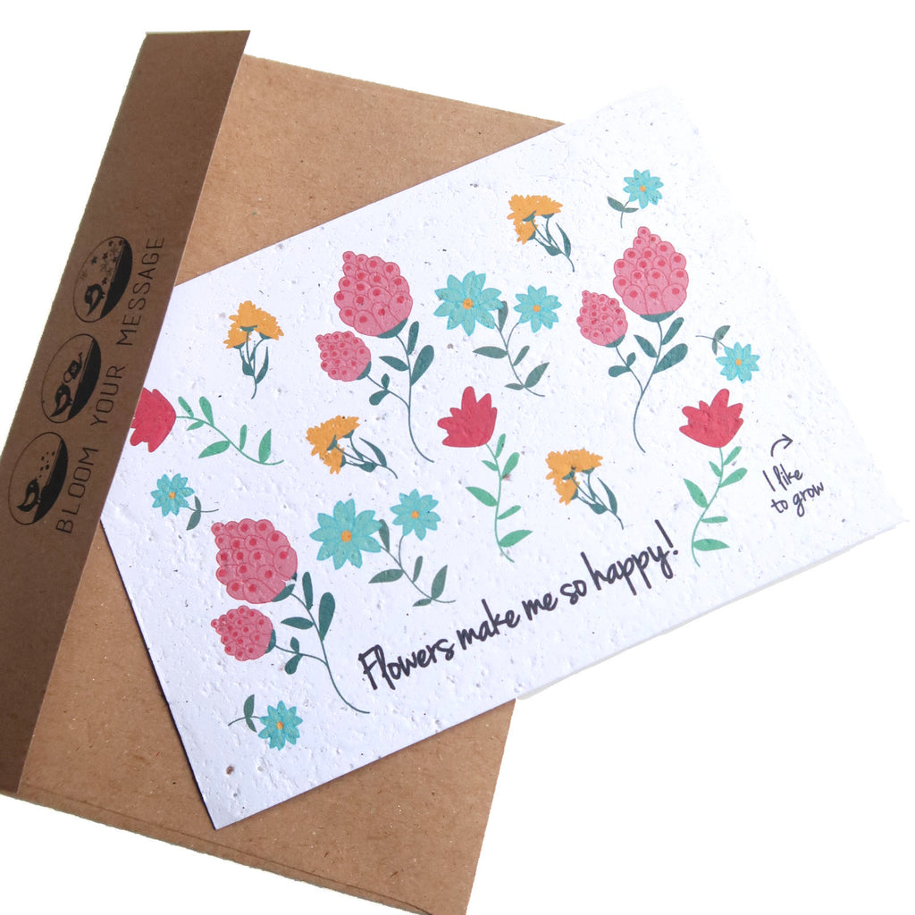 Plantable cards Flower with envelope Flowers make me happy seeded paper