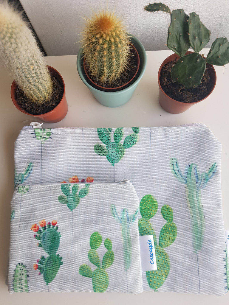 cactus design zip bag