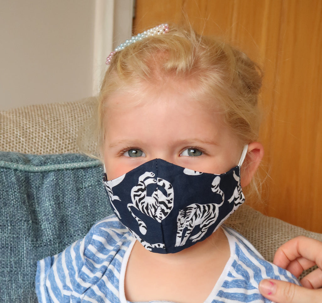 navy tiger kids face mask