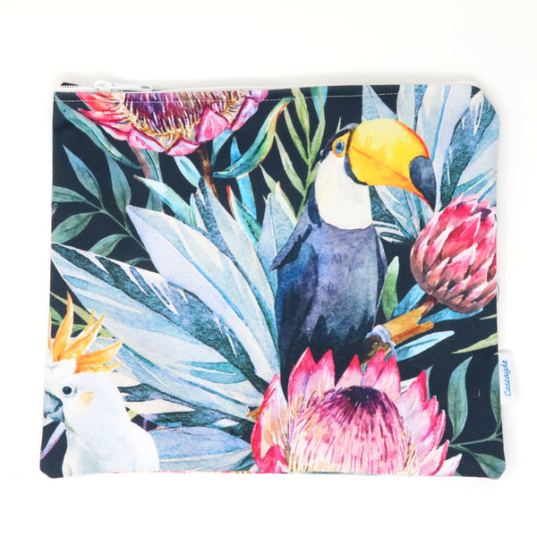 Large Toucans and Parrots Bag - Ipad Sleeve/Toiletry/Baby Bag