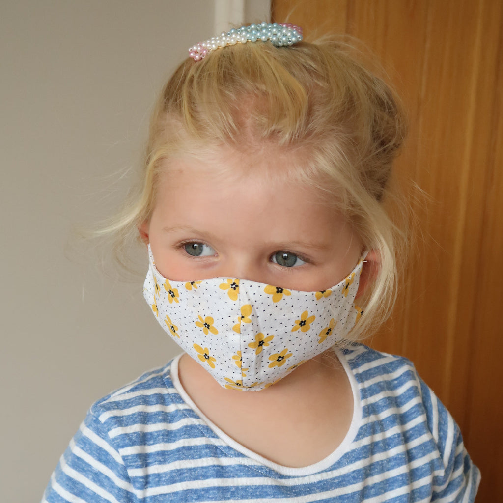 yellow flower kids face mask