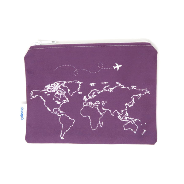 Purple Map Zip Bag