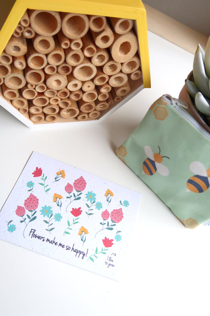 Flowers make me happy plantable greetings card wildflower seeded paper
