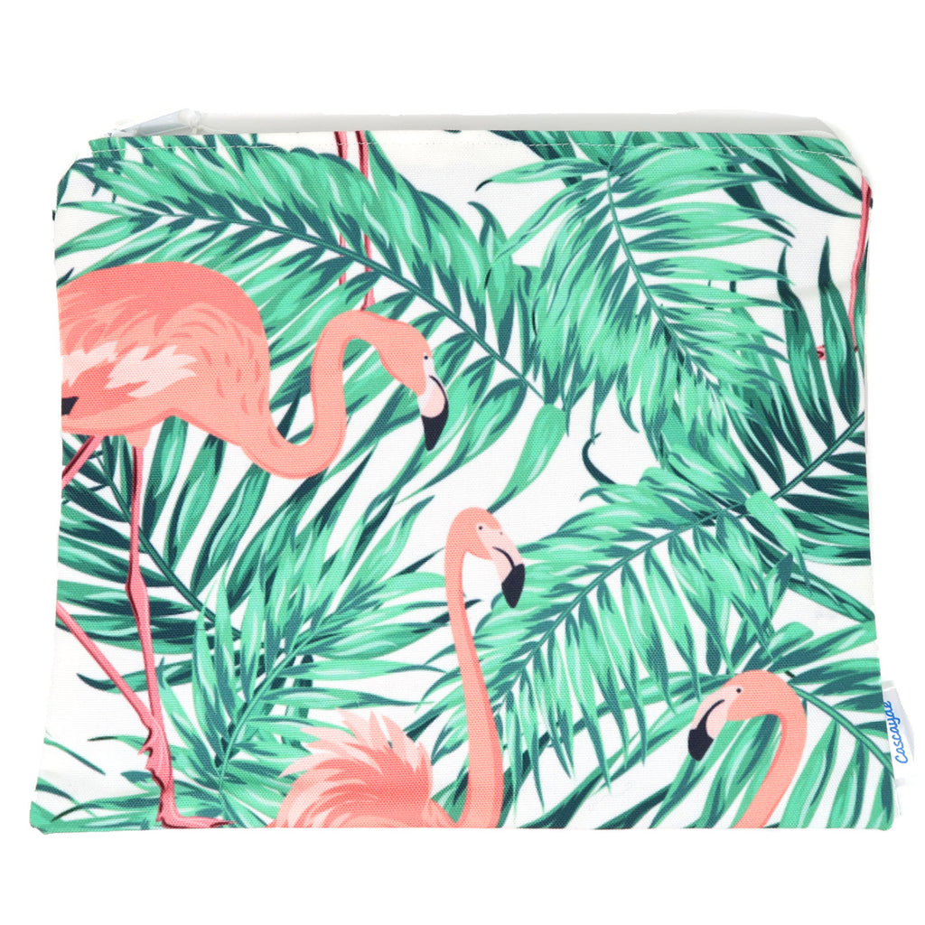 flamingo print zip bag