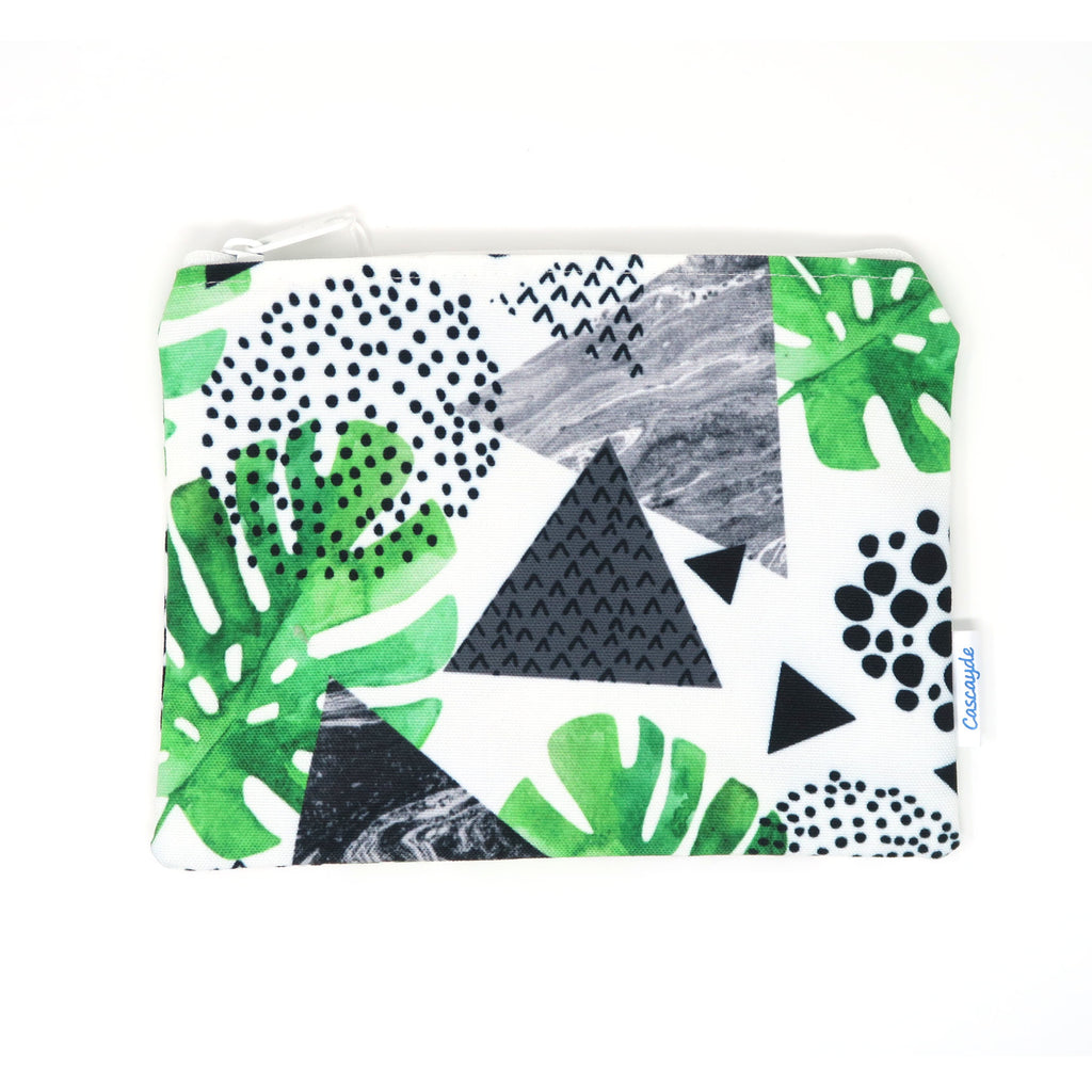 Geometric and Leaf print Zip Bag