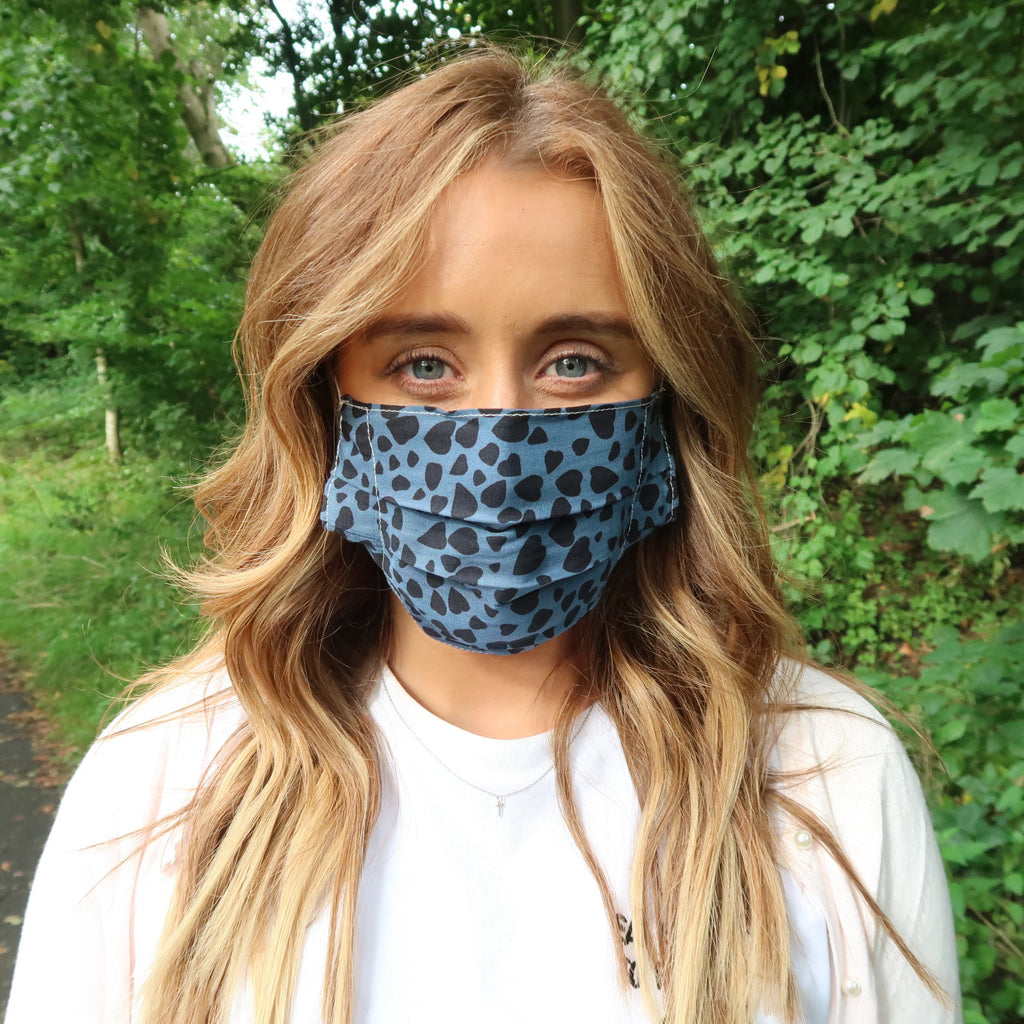 blue animal print face mask
