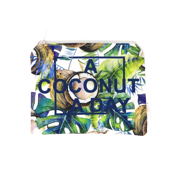 coconut print zip bag