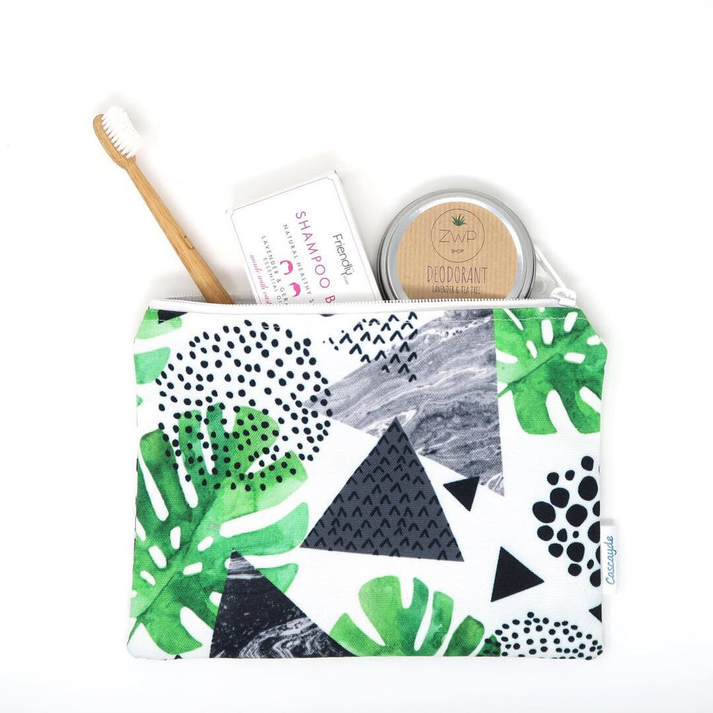 green leaf design toiletry bag