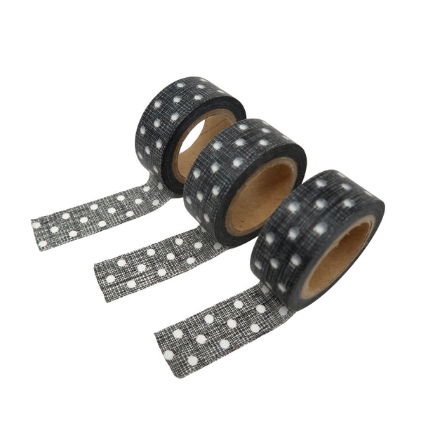 Set of 3 Black with white dot washi tapes