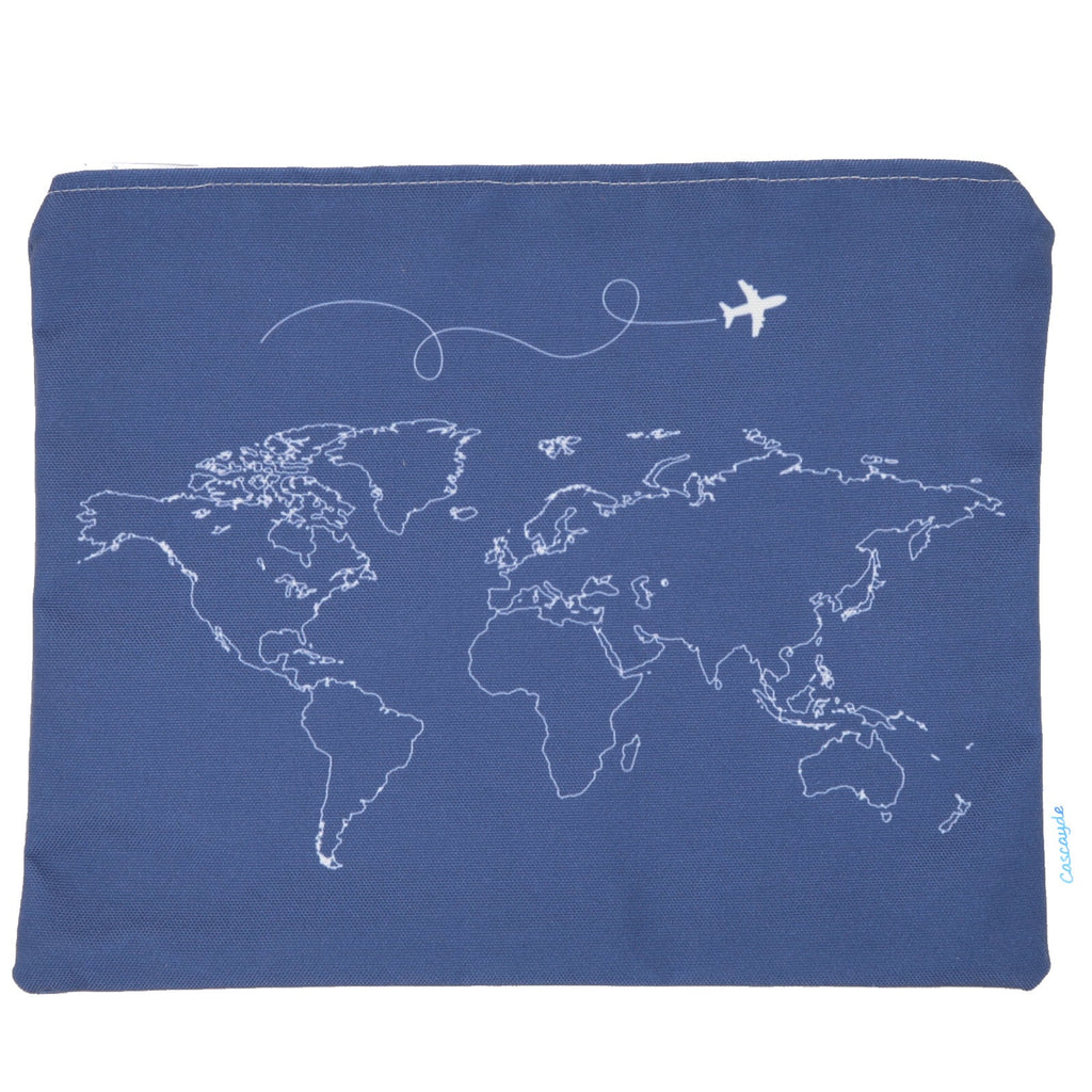 Large Navy Map Zip Bag- IPad sleeve/Toiletry Bag