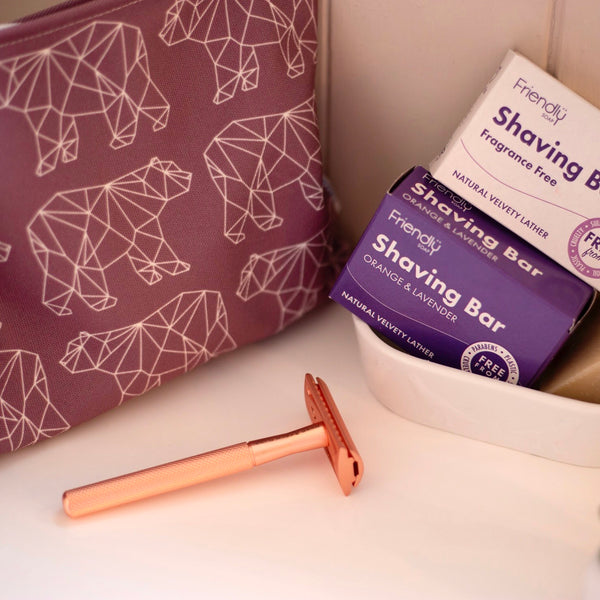 Rose gold razor shaving set