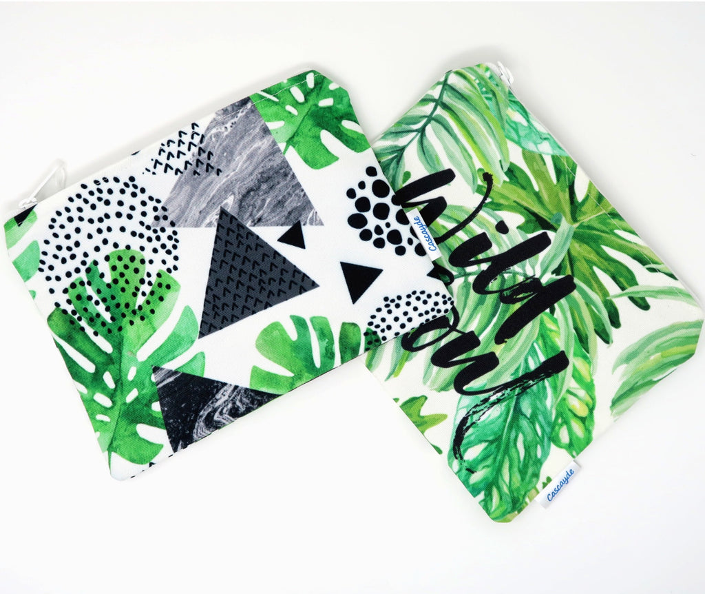 jungle print zip bags
