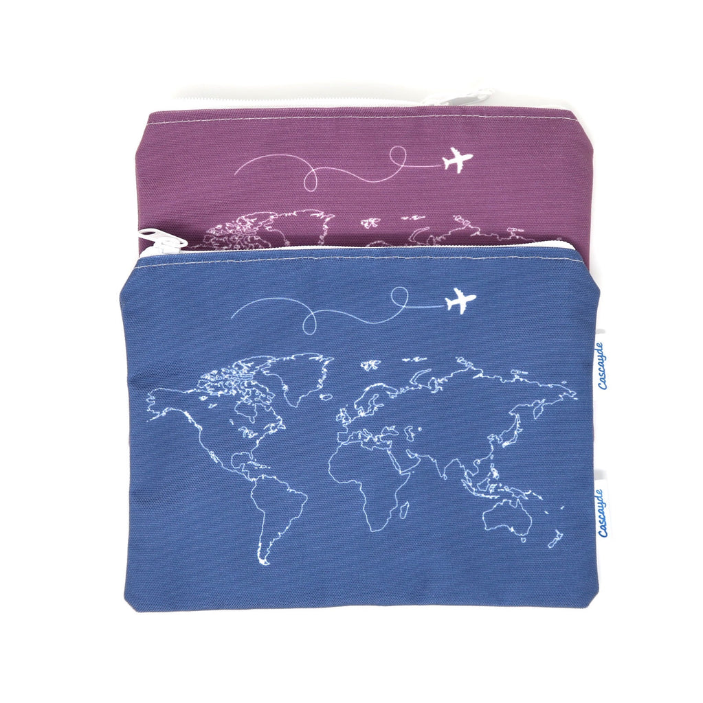 world map print travel wallets