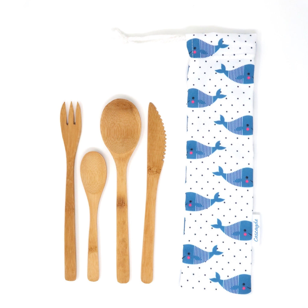 Bamboo cutlery set whale bag