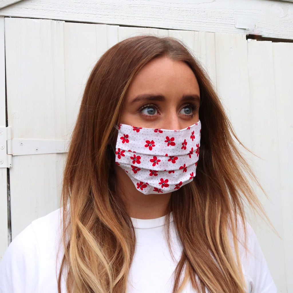 red flower print face mask