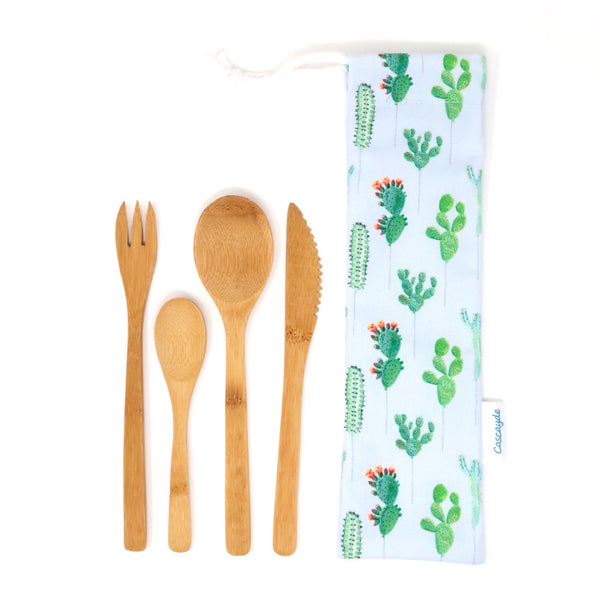 bamboo cutlery set cactus bag