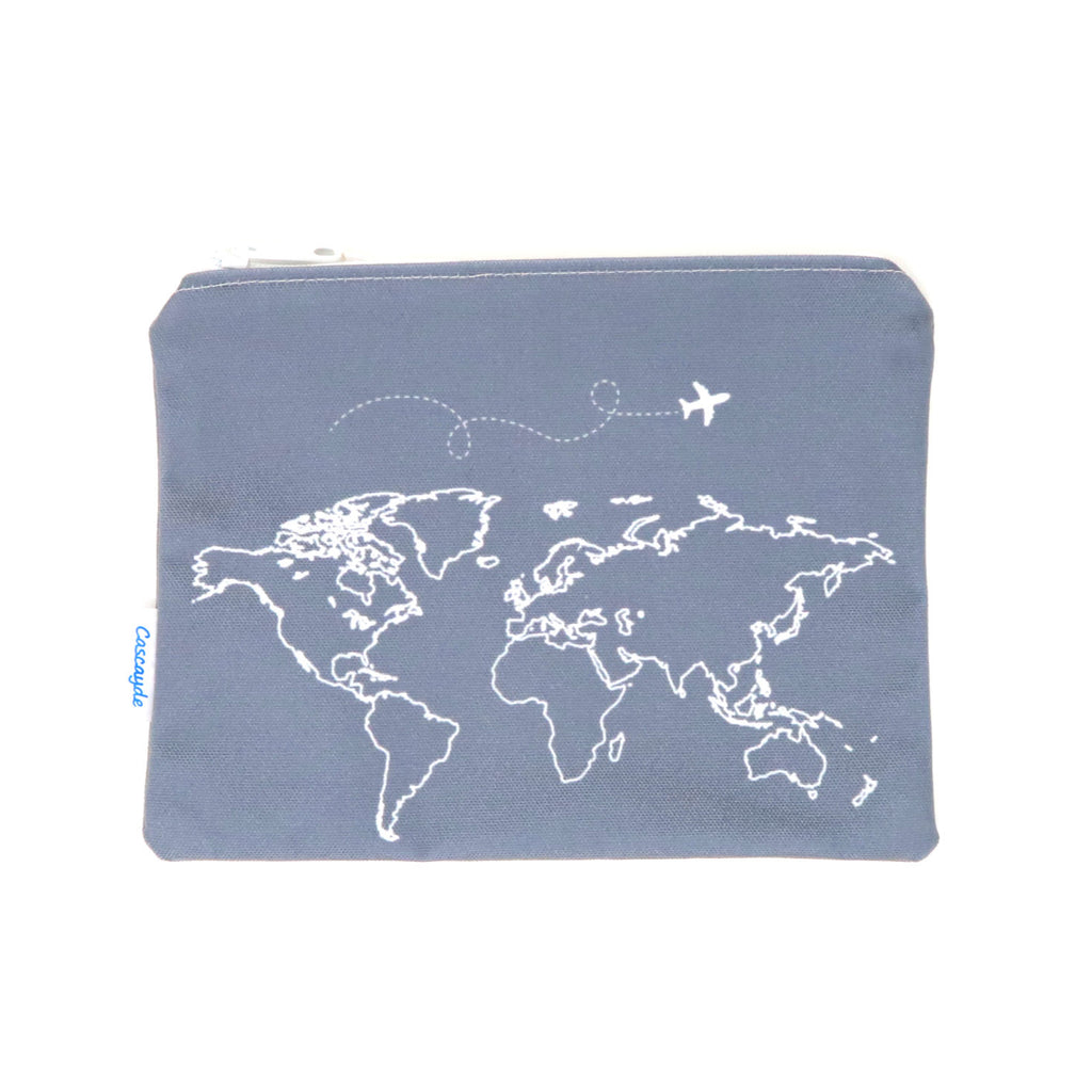 grey map print zip bag